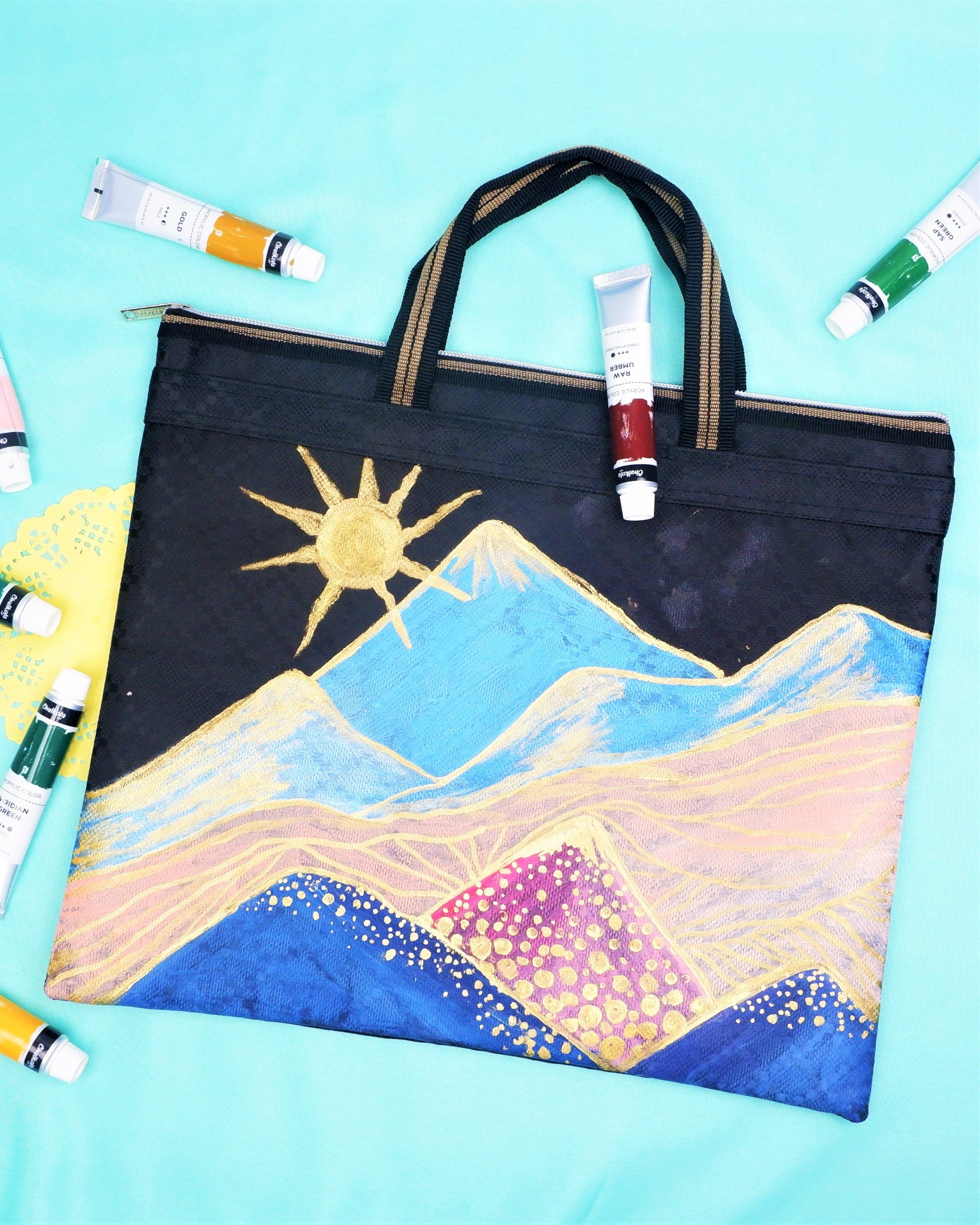 Wearable Acrylic Painting on Laptop Bag