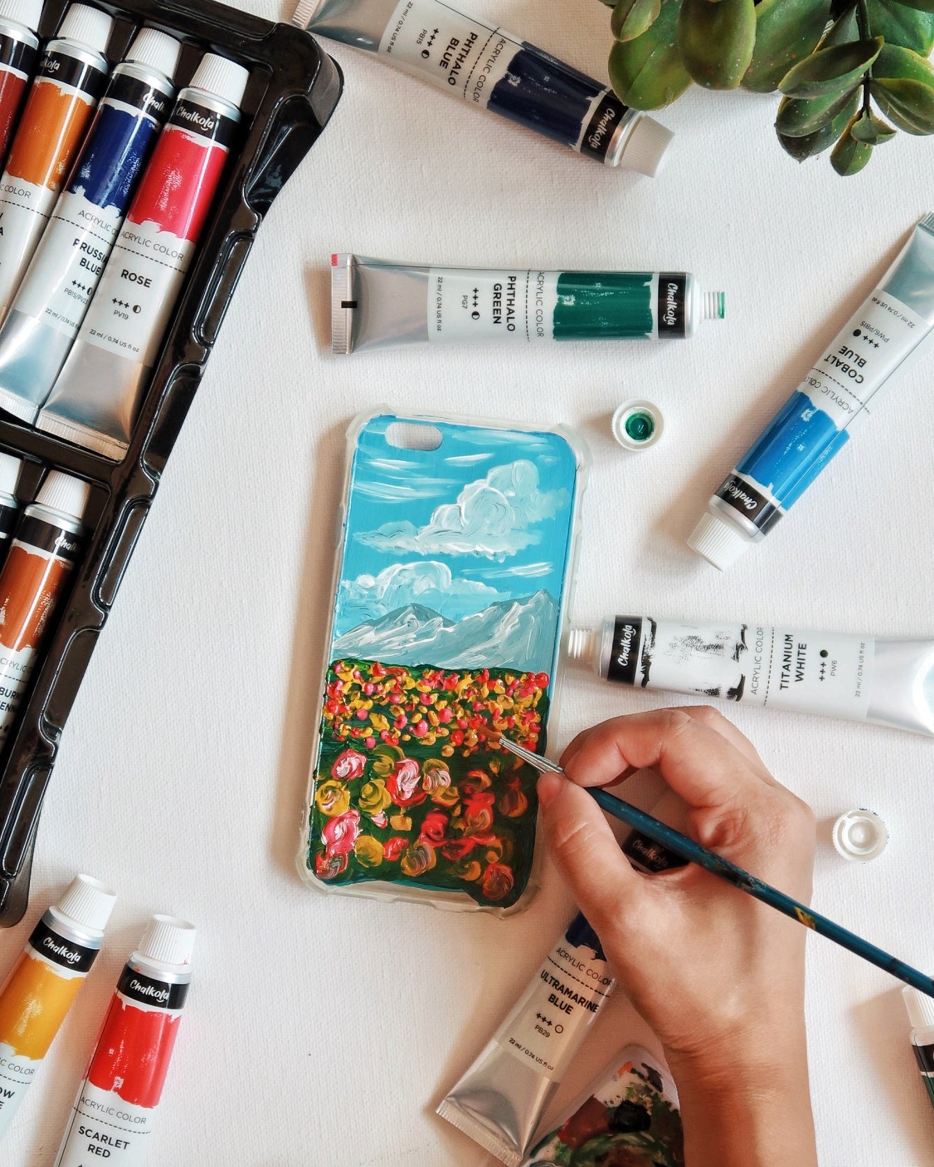 Wearable Acrylic Painting on Phone Case
