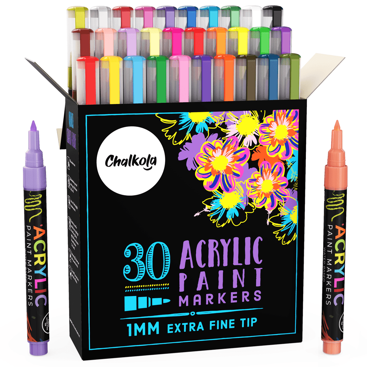 Acrylic Paint Marker Pens - Pack of 30 1mm Extra Fine