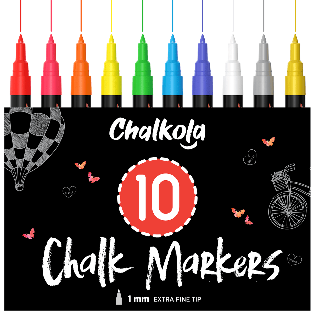 Liquid Chalk Markers with Gold & Silver - 6mm Reversible Nib | Pack of 10 1MM TIP