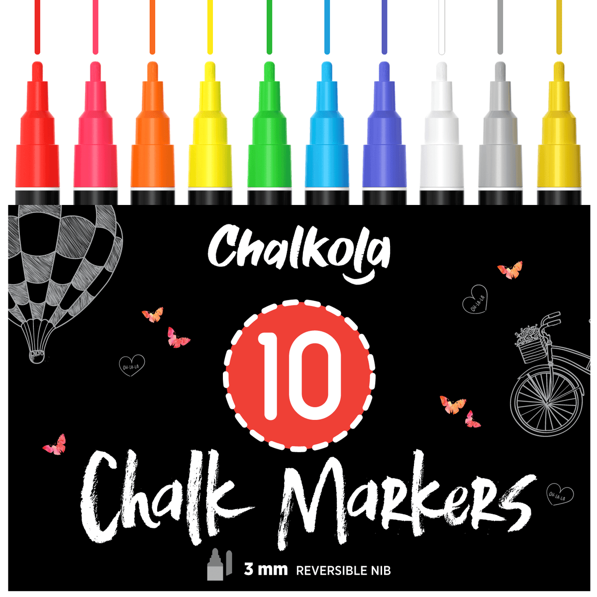 Liquid Chalk Markers with Gold & Silver - 6mm Reversible Nib | Pack of 10 3MM TIP