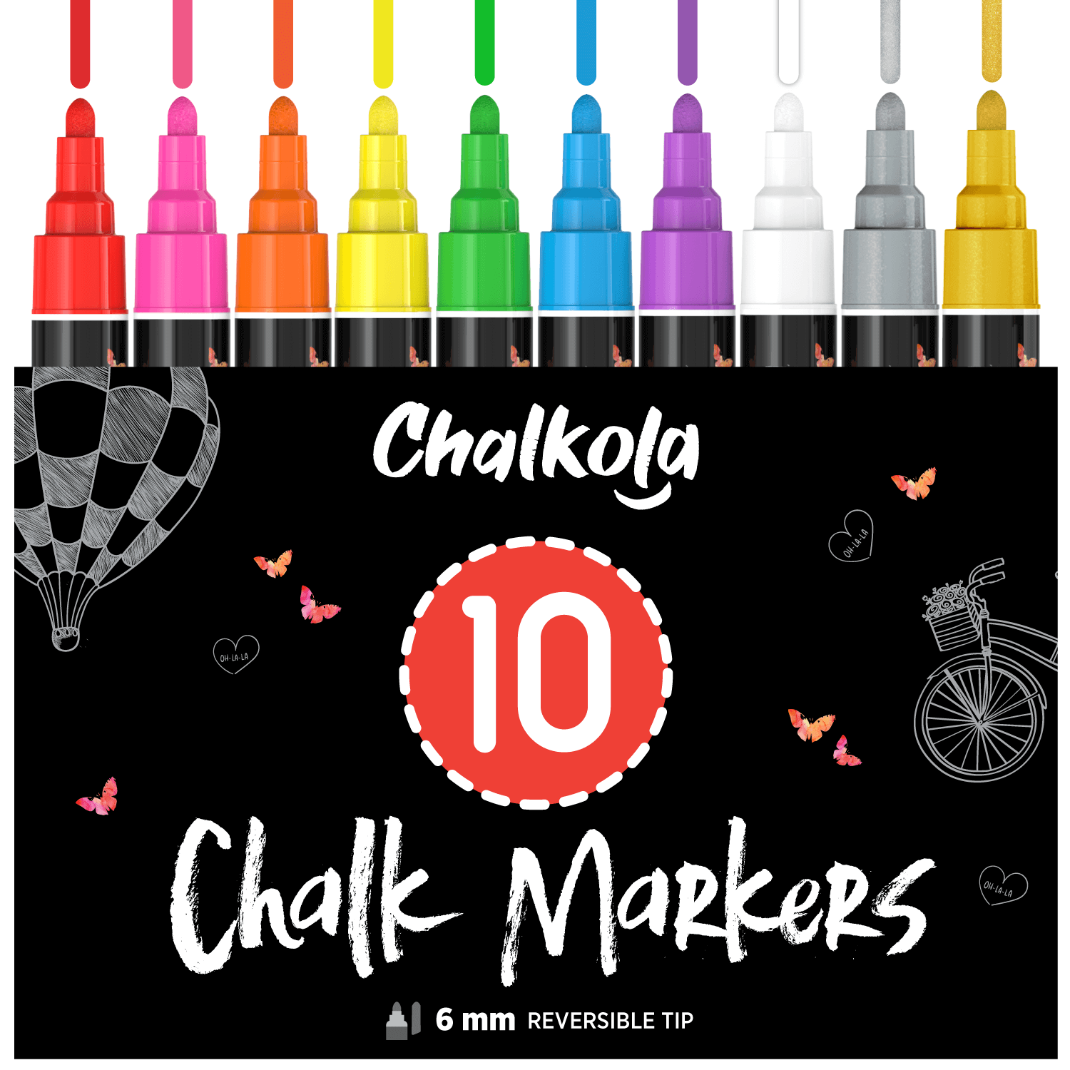 Liquid Chalk Markers (10 Pack) with Gold & Silver - 6mm Reversible Nib