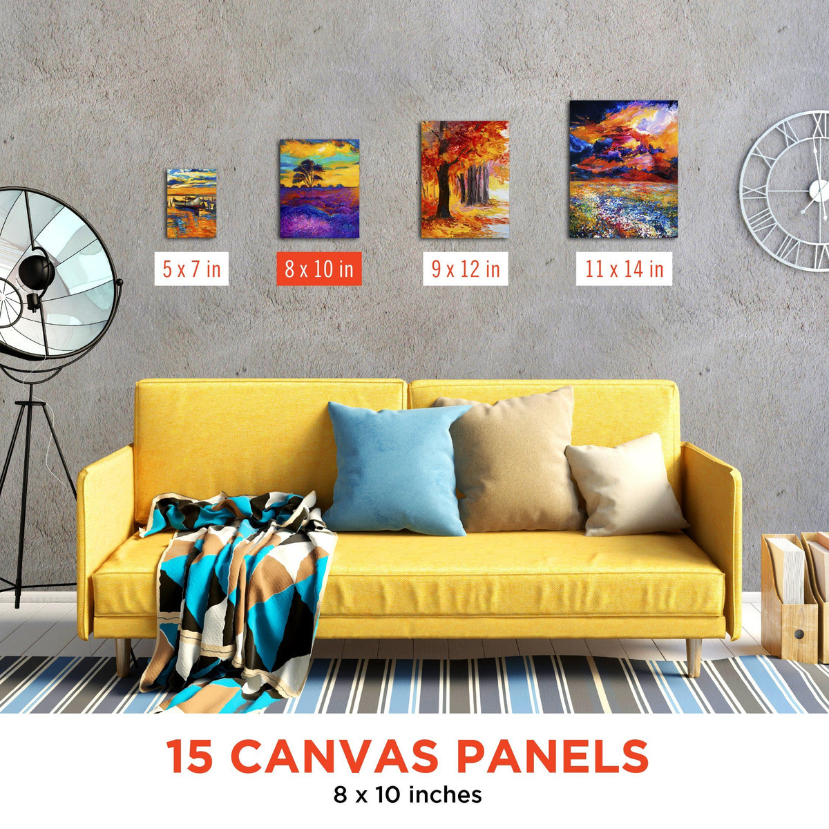 Paint Canvas Panels 8x10 inch (15 Pack)