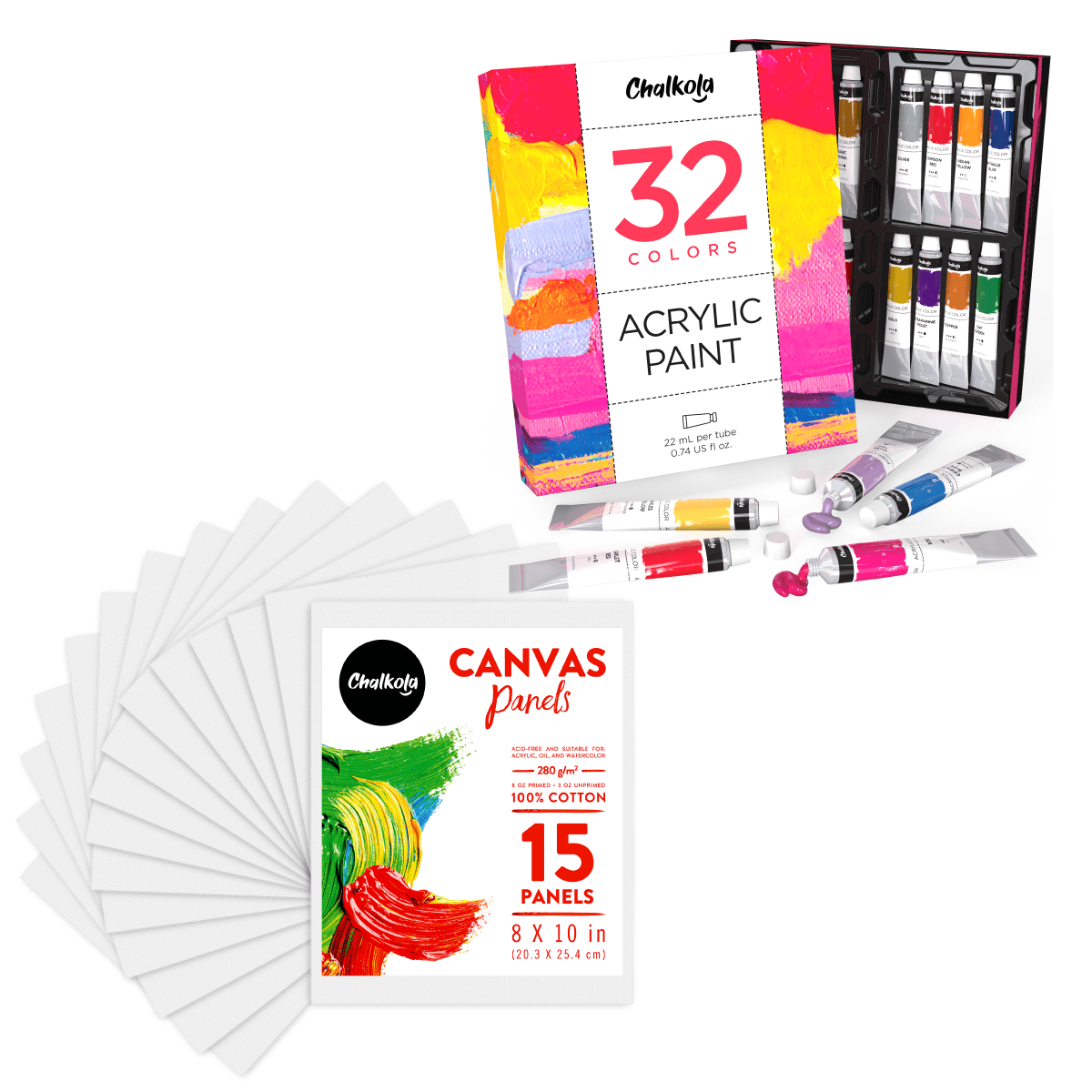 Artist's Bundle: 32 Acrylic Paint + 15 Canvas Panels