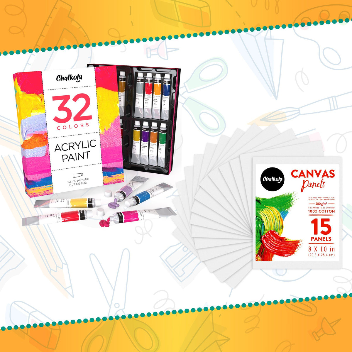 Artists's Bundle: 32 Acrylic Premium Artist Paint + 15 Canvas Panels