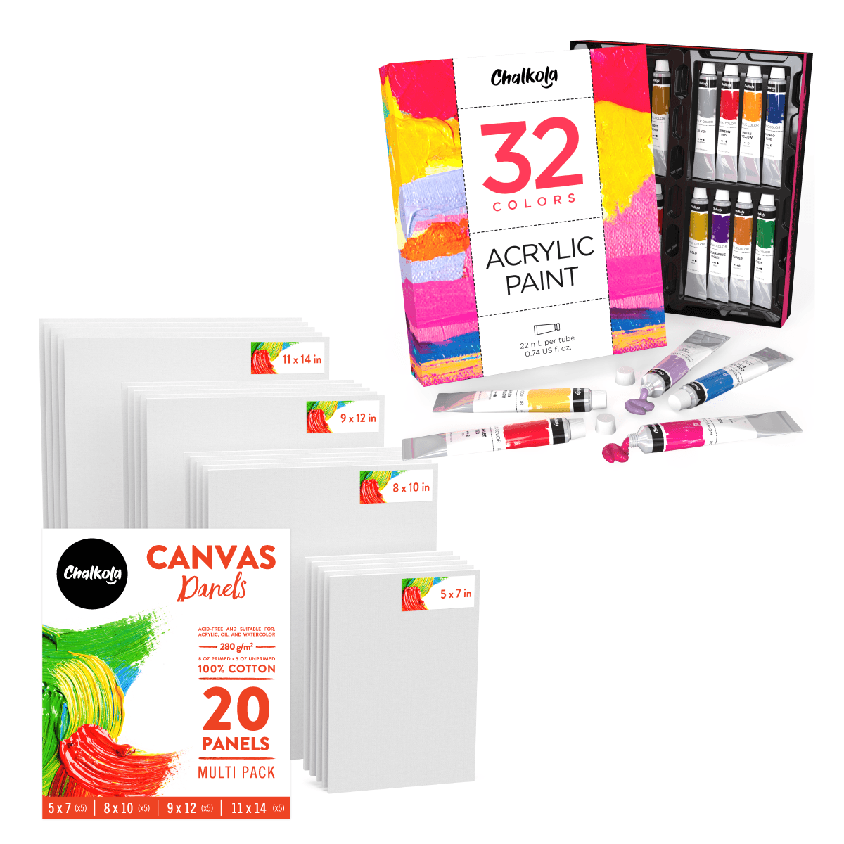 Artist's Bundle: 32 Acrylic Paint + 20 Canvas Panels
