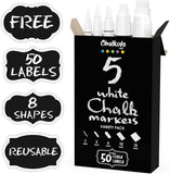 Bundle: Magnetic Chalk Board + 5 White Chalk Markers with Fine and Jumbo Nibs