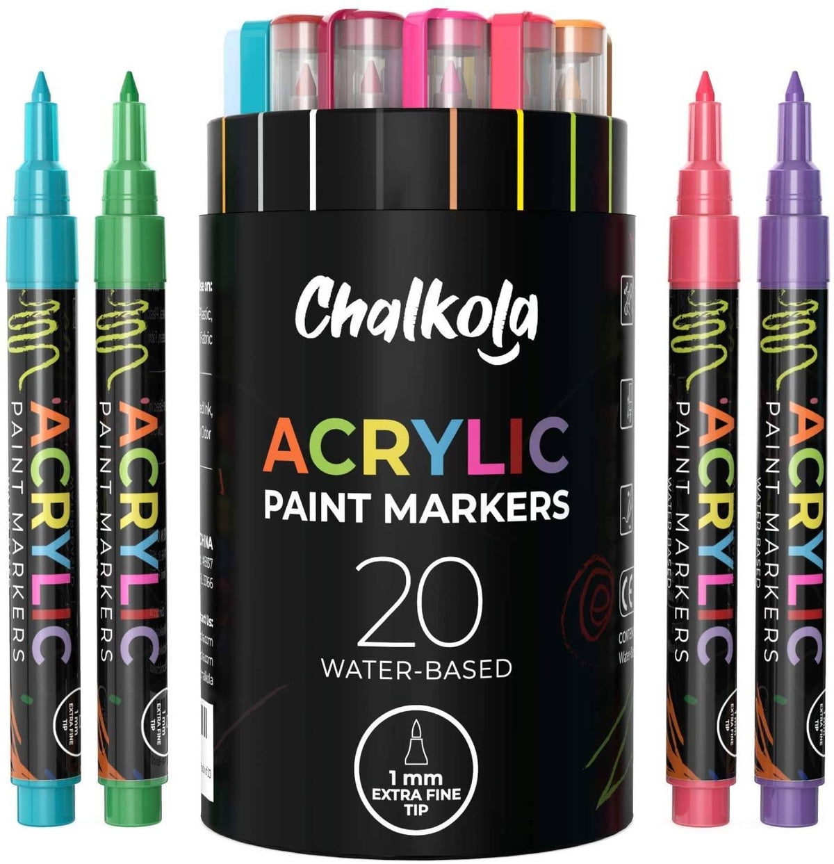 Acrylic Paint Marker Pens - Pack of 20, Fine Tip 1mm Extra Fine