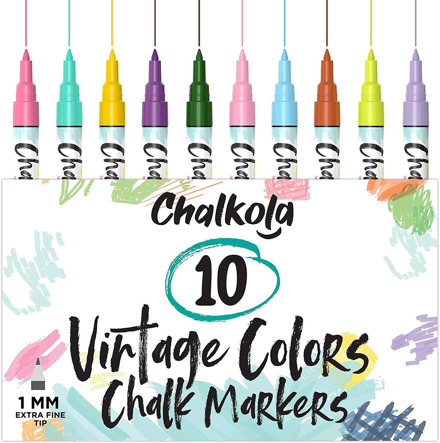 Vintage Color Liquid Chalk Markers With Reversible Nib - Pack of 10 1mm Tip
