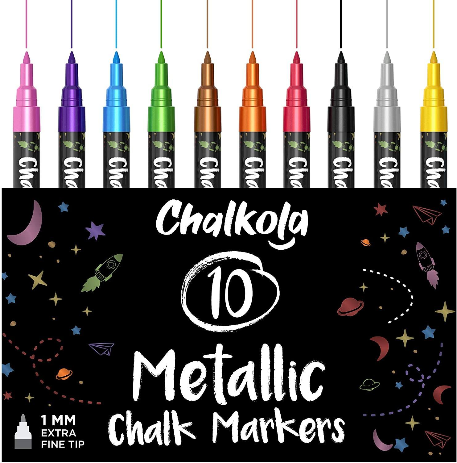 Metallic Chalk Markers with - Pack of 10 Pens 1mm Tip