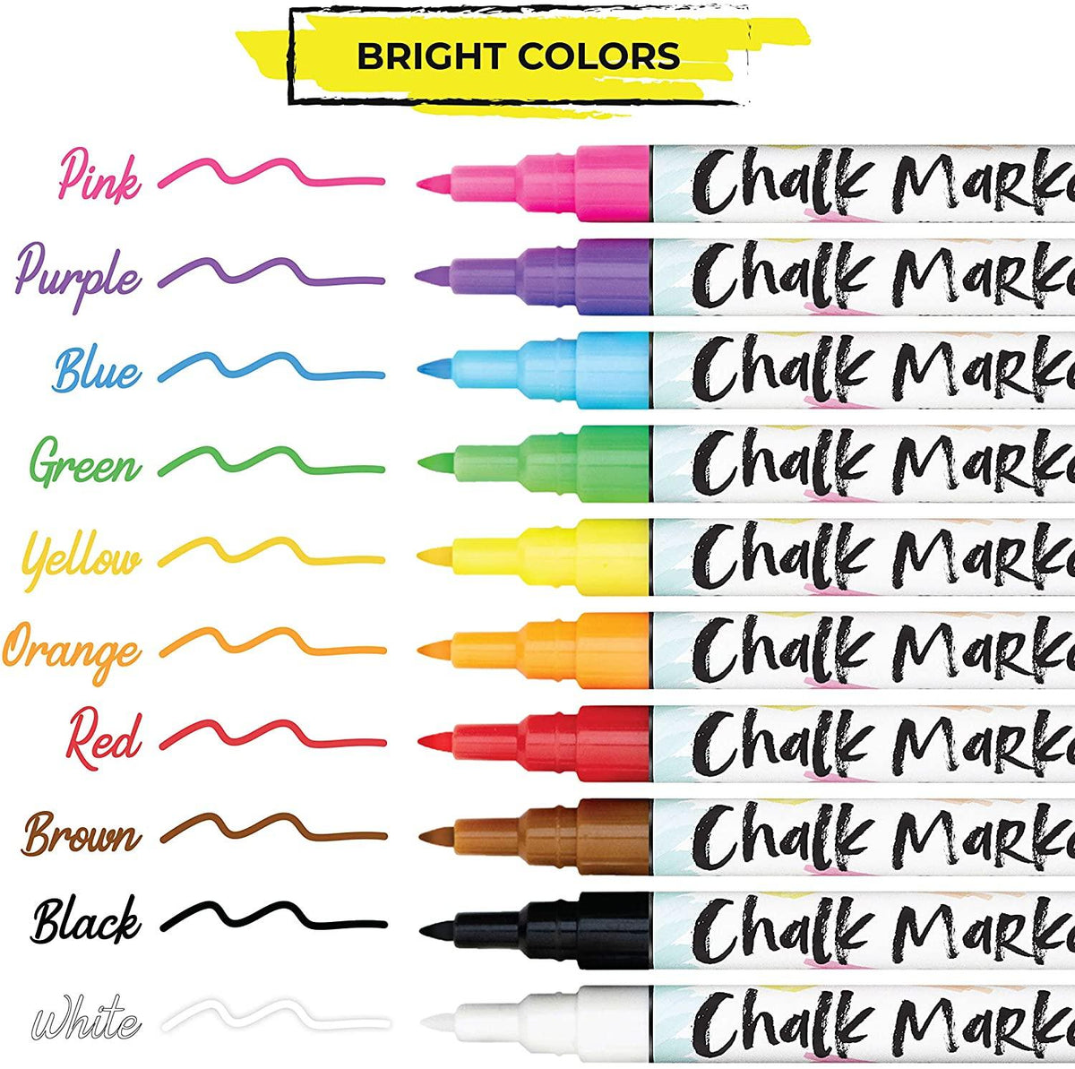 Bundle: 1mm Chalk Markers - Extra Fine Nib | Neon & Earth Colors