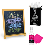 Bundle: 5 White Variety Pack + Magnetic Chalk Board + Spray Cleaner