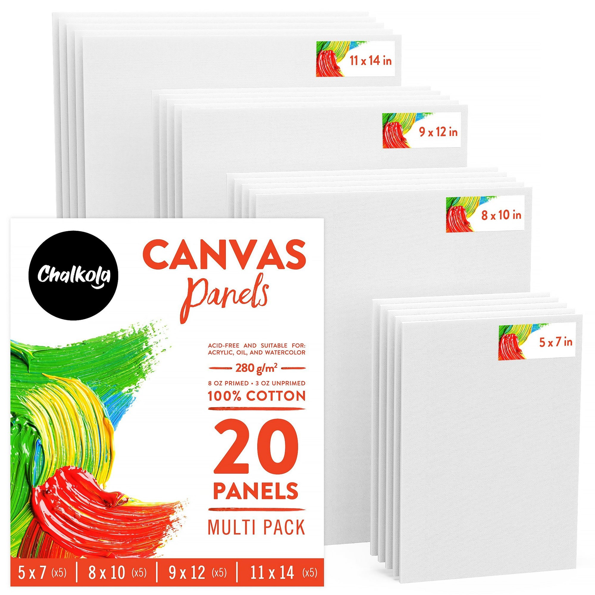 Painting Canvas Panels - 5x7, 8x10, 9x12, 11x14 inch (5 Each, 20 Pack)