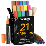 Chalk Markers - Pack of 21 | 6mm Reversible Nib Neon, Classic & Metallic Colors