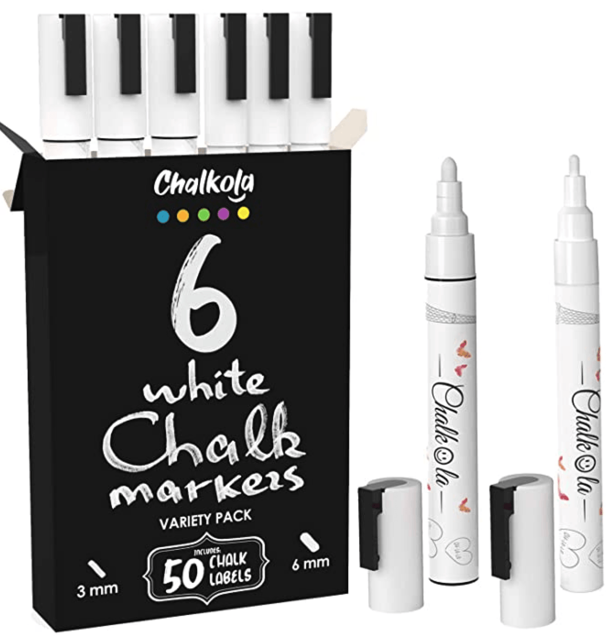 White Chalk Markers - Variety Pack of 6 | Fine and Bold Tip (3mm and 6mm)