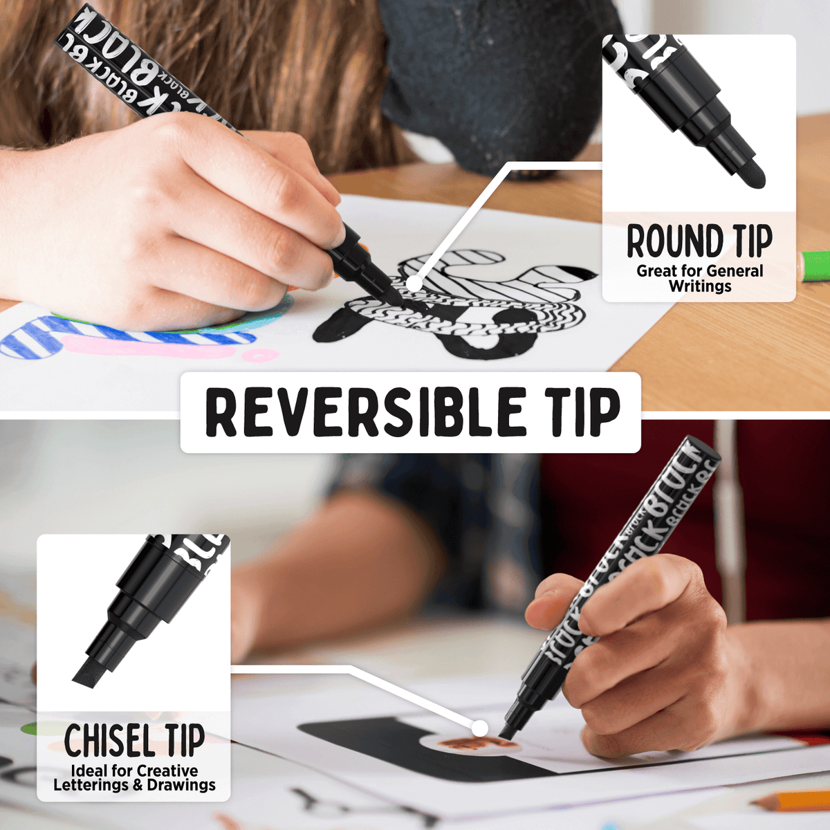Black Chalk Markers - 6mm Reversible Tip (Pack of 5) - Chalk Markers