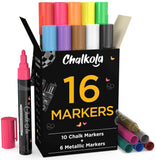 Chalk Markers - Pack of 16 | 6mm Reversible Nib Neon & Metallic Colors