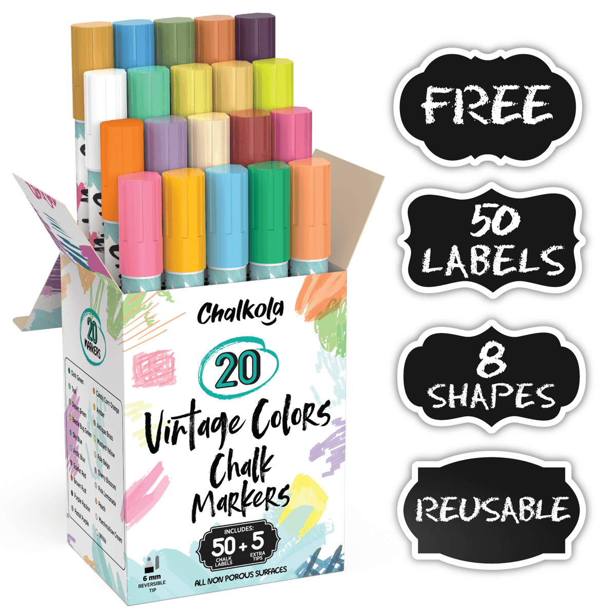 Chalk Markers - Pack of 20 Vintage Colors