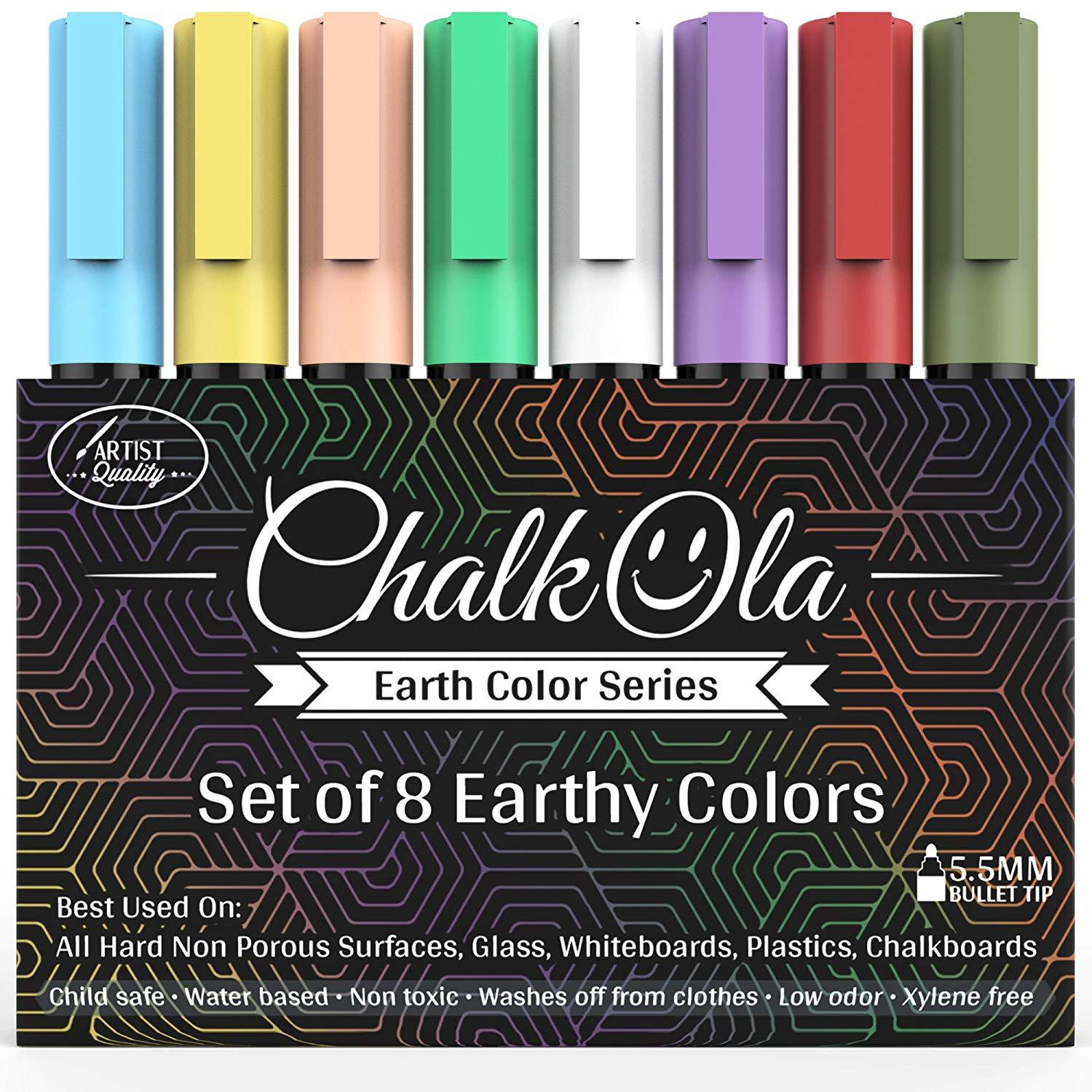 Chalkboard Markers | 6mm Reversible Nib Classic Colors | Pack of 8 - Chalk markers