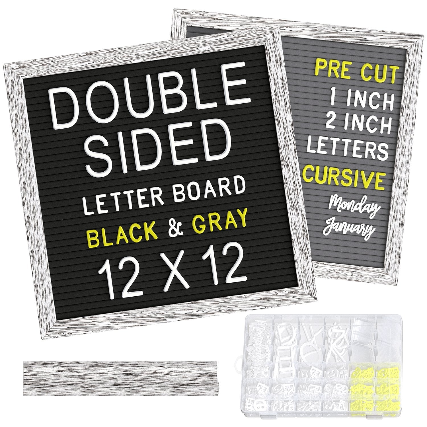 Double Sided Rustic Felt Letter Board 12x12 inch | With Pre-Cut Letters - LetterBoard