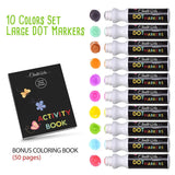 Washable Dot Markers For Kids - Pack of 10 with Activity Book - Dot Markers