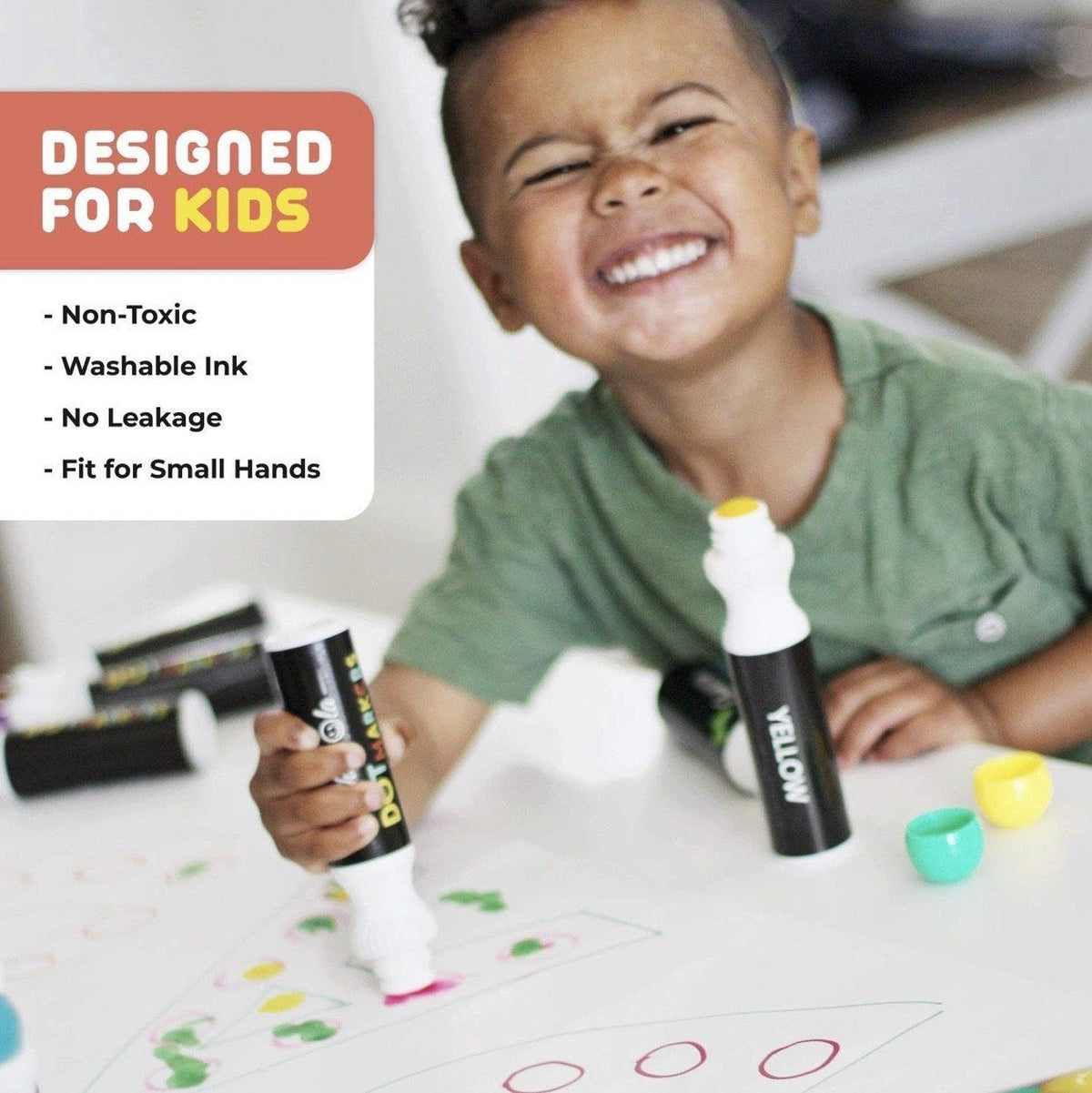 Washable Dot Markers For Kids with Shimmer Pack of 8 with Activity Book