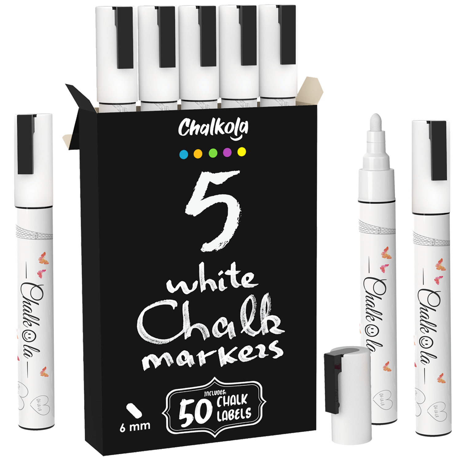 White Chalk Ink Markers - 6mm Reversible Nib | Pack of 5