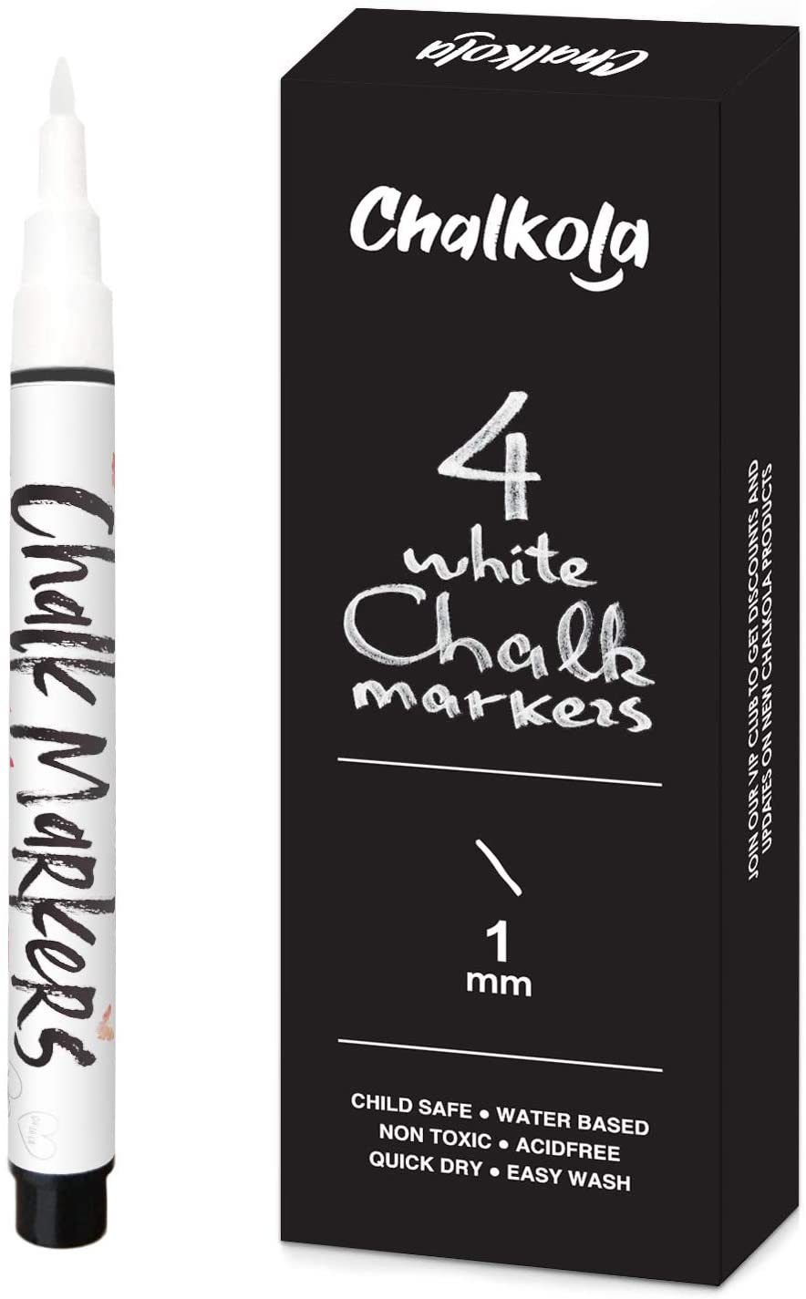 White Chalk Markers - 1mm Extra Fine Nib | Pack of 4