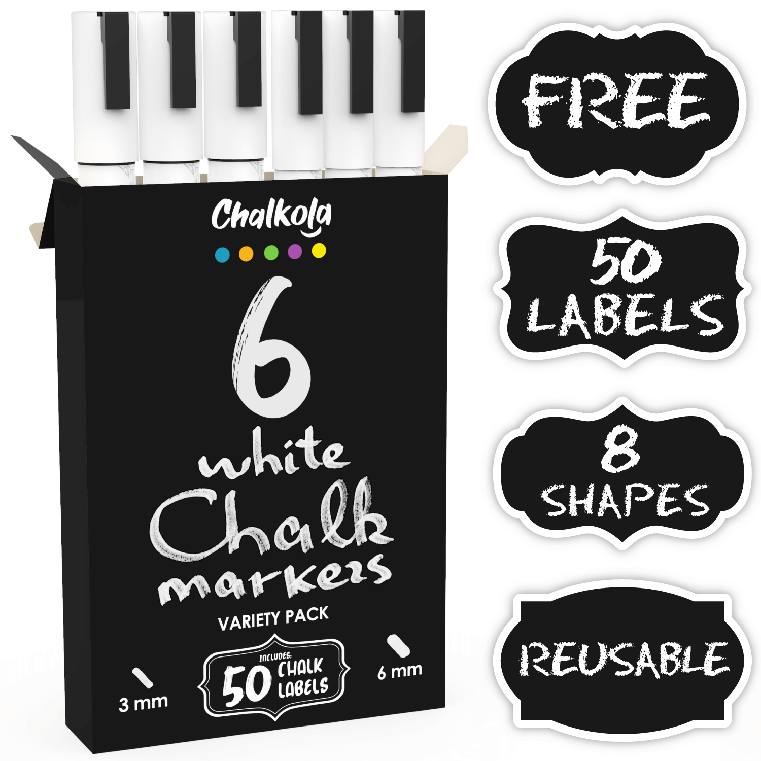 White Chalk Pens - Variety Pack of 6 | Fine and Bold Tip