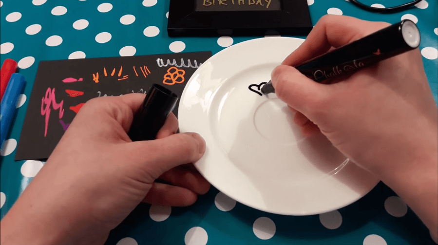 markers on a saucer