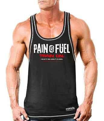 NEW Mens Workout MONSTA Bodybuilding Wear PAIN Racerback Tank Top Gym Clothing