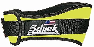 NEW Schiek Model 2006 Nylon Neon Yellow Weight Lifting Belt with Velcro closure