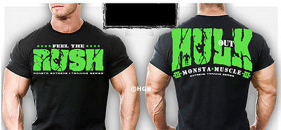 NEW Mens Workout Clothing MONSTA Bodybuilding Gym wear Hulk Out Graphic T Shirt