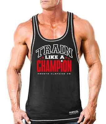 NEW Mens Workout MONSTA Bodybuilding Wear TRAIN Racerback Tank Top Gym Clothing