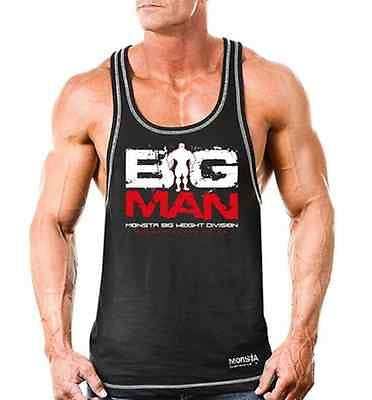 NEW Mens Workout MONSTA Bodybuilding Clothing BIG MAN Racerback Tank Top Shirt