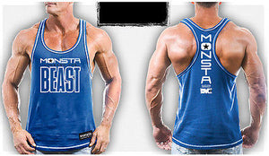 Mens Workout MONSTA Bodybuilding Gym Clothing Unleash Beast Racerback Tank Top