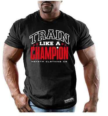 NEW Mens Graphic T MONSTA Bodybuilding Wear CHAMPION BLACK TShirt Gym Clothing