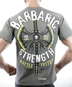 NEW Mens Graphic T SHIRT MONSTA Bodybuilding Clothing BARBARIC STRENGTH T-Shirt