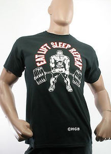 Mens 100% Cotton Graphic T Bodybuilding Tee Shirt Gym Clothing Power Lifting