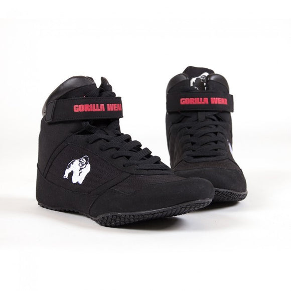 Bodybuilding Shoes Gorilla Wear High Tops Weight Lifting Black or Red All Sizes New