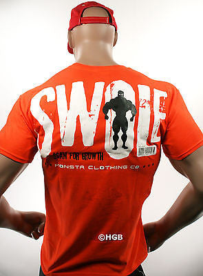 NEW Mens Graphic Tee MONSTA Bodybuilding Wear SWOLE T Shirt Gym Clothing