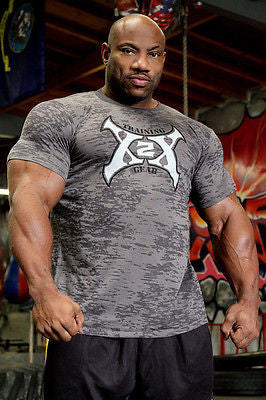 Mens T SHIRT X2X Bodybuilding Wear CAMO BURNOUT T-Shirt Gym Clothing NEW