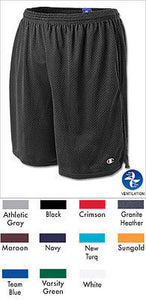 New Champion 81622 Men's Long Mesh Athletic Gym Shorts w/ Pockets Elastic Waist