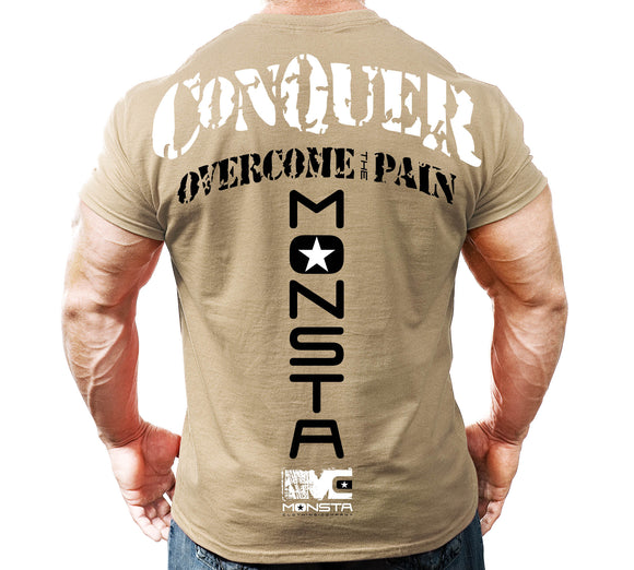 NEW Mens Graphic Tee MONSTA Bodybuilding Wear OVERCOME PAIN TShirt Gym Clothing