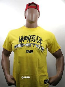 NEW Mens Graphic T MONSTA Bodybuilding Wear GENETICS yellow TShirt Gym Clothing