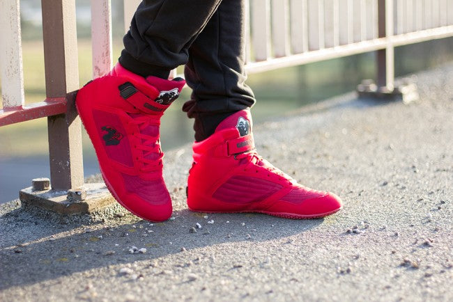0586d6a4f36a ... Bodybuilding Shoes Gorilla Wear High Tops Weight Lifting Black or Red  All Sizes New