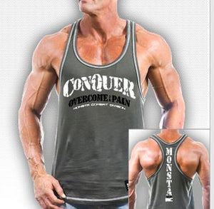 NEW Mens Workout MONSTA Bodybuilding Clothing CONQUER Racerback Tank Top USAmade