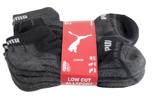New Puma Mens 6 Pair of Low Cut Sports Socks. All Sizes 6-16 (Extended Size Too)