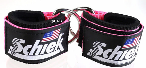 Schiek Ankle Straps Cuffs 1 Pair Pink Model 1700 D Ring Cable Attachment Cuff