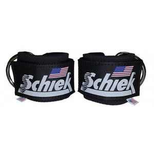 Schiek Ankle Straps Cuffs 1 Pair Black Model 1700 D Ring Cable Attachment Cuff New